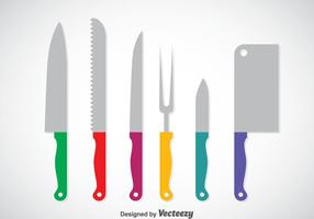Colorful Cooking Knife Set Vector