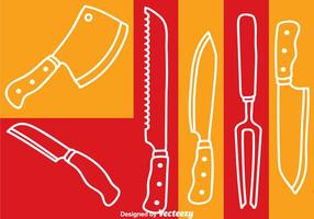Knife Set White Line Vector