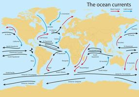 Ocean current world map vektor