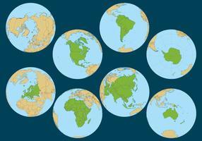 Vetores do globo continente