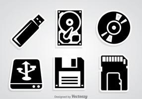 Iconos de almacenamiento digital negro