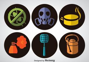 Pest Control Platte Pictogrammen Vector