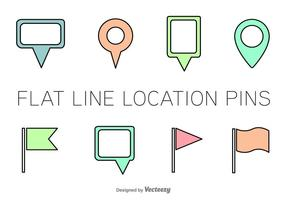Line Location Pin Vector Icons