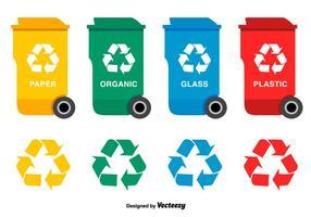 Conjunto de vetores de lixo de plástico plano