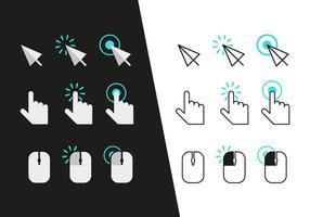 Iconos de clic de ratón Vector