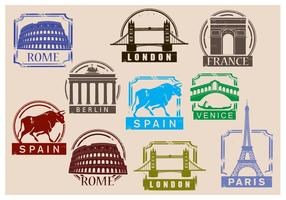 Vecteurs de timbres de voyage