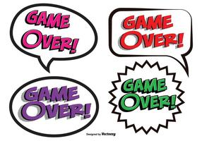 Game Over Comic Text Illustrations vector