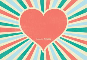 Fundo retro do vetor do coração