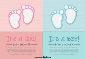 Girl and Boy Baby Footprints Vector