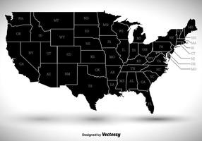 States Outlines Silhouette Vector