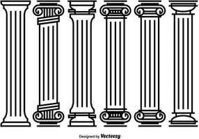 Vetores de pilar romano decorativo