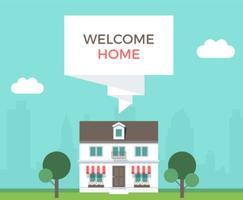 Benvenuto illustrazione vettoriale casa benvenuto