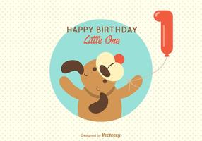 Free Puppy 1st Birthday Greeting Vector Card