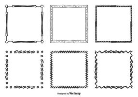 Handdragen vektorramar Set