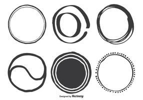 Mano, dibujado, surtido, círculo, vector, formas