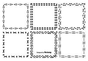 Ensemble de cadre de vecteur à dessin dessiné à la main