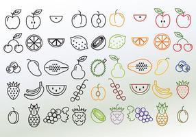 Set di diversi vettori di frutta lineare