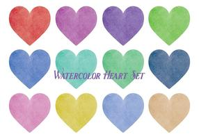 Aquarelle Style Vector Heart Set