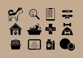 Vetores de ícones de cuidados com animais de estimação