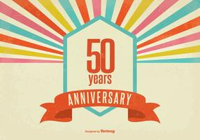 Retro Style Fifty Year Anniversary Vector Illustration