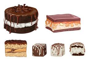 Vectores de las tortas de chocolate y de las trufas