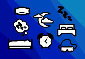 Colchón Sleep Nights Iconos Vector