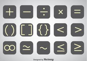 White Outline Math Symbol Vector Sets
