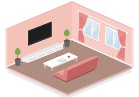 Vecteur de salle de séjour isométrique gratuit