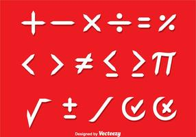 Símbolos matemáticos vetores brancos