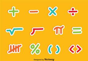 Símbolos de matemáticas Juegos de colores vectoriales