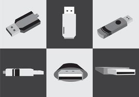 Blanco y negro de Pen Drive Vector