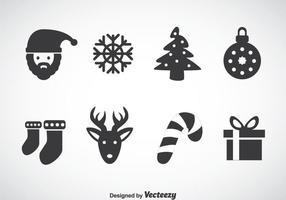 Natale grigio icone vettoriali