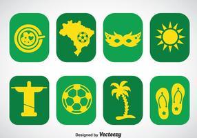 Brasilien ikoner vektor uppsättningar