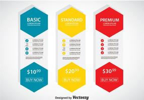 Pricing Tabelle Flach Design Vorlage Vektor