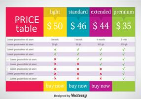 Pricing Tabel Vector