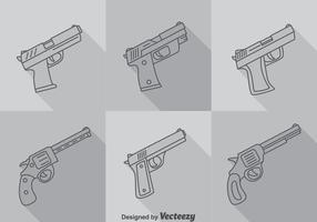Hand Pistole Lange Schatten Icons Vektor