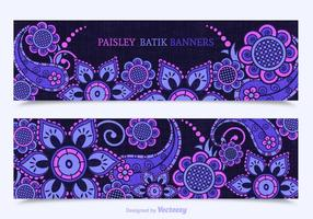 Free Paisley Batik Vector Banners