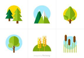 Iconos libres del vector de la naturaleza plana