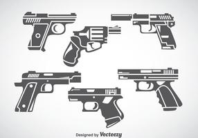 Hand Gun Grey Icons Vector