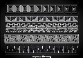 Greek Key White Border Vector Sets
