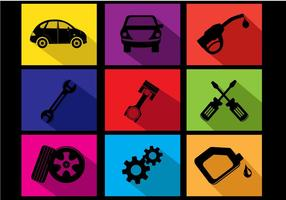 Flat Car Oil Change Icon Vectors
