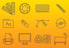 Iconos del vector de las artes gráficas