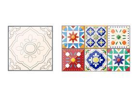 Vetores de azulejos padrão Talavera