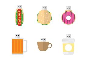 Fun Snack Pen Drive Vectors