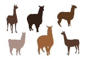 Silhuetas de vetores de alpaca