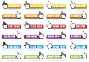 Vecteurs de boutons de pixels de clic de souris