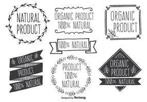 Handdragen stil Natural Product Vector Label Set