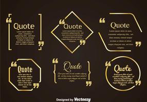 Golden Quotation Mark Bubble Vertors Sets