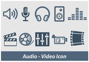Icono de vídeo de audio y vídeo