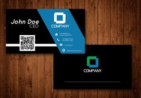 Noir et bleu Creative Business Card Vector